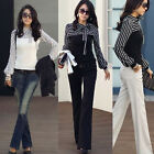 Ladies Women Stripe Puff Long Sleeve T-Shirt Tops Blouses Casual Career Neck Bow