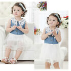 Summer Girls Kids Toddlers Denim Lace Collar Bow Party Princess Tulle Dress