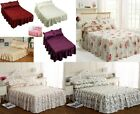 LUXURY RUBY PLAIN PRINTED LIGHTLY QUILTED SATIN BEDSPREAD SETS WITH FRILL