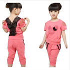 2pcs Kids Girls Baby Red Cotton Clothes Short Sleeve Tops + Short Pants m#6*5