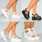 CHUNKY FLATFORM PU LEATHER SANDALS GLADIATOR WEDGED PLATFORMS HIGH HEELS WEDGES