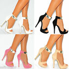 GOLD METAL ANKLE CUFF STRAP STRAPPY SANDALS PEEP TOES STILETTO HIGH HEELS SHOES