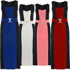 New Ladies Plus Size Color Contrast Sleeveless Snake Buckle Maxi Dress 16-26