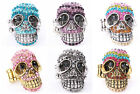 CZ Rhinestone Crystal Skull Stretchy Ring Adjustable Charming Jewelry 6 Colors