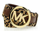MICHAEL KORS Haircalf Logo Buckle With Leather Trim Belt - Leopard $78