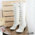 NEW FASHION WOMENs Lace-up Platform High Heels Knee-High knight boots 3 COLOR