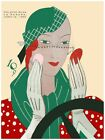 4984.Well dressed woman in car applying make-up..POSTER.decor Home Office art
