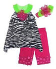 NEW Girls 3 pc Zebra Print Tunic with Capri & Headband by Peaches n Cream