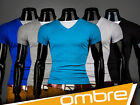 NEW 2014 UK Men's Designed T-Shirt Short Sleeve Casual  OMBRE  S192  V-neck Top