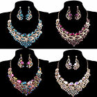 3pcs Sexy Ladies Crystal Earring&Necklace Wedding Bridal Masquerade Jewelry Set