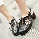 Women's Multicolor Round Toe Slingback Lace Up Chunky Mid Heel Causal Shoes Size