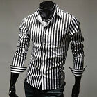 Cheap Gentlemen Tops Long Sleeve Stripe Shirt Formal Casual Party Dress Shirt **