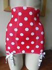 POLKA DOT RETRO HIGH WAISTED LONG LINE GIRDLE 6 SUSPENDERS BLACK/RED POLKA DOTS