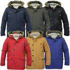 mens jacket parka coat Brave Soul padded hooded winter fur zip lined hoody