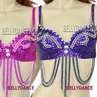 BELLY DANCE DANCING BOLLYWOOD COSTUME BRA TOP BEADED SEQUINS US SIZE 32C - 34B/C