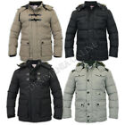 mens Soul Star parka hooded padded leather look patches fur winter jacket coat