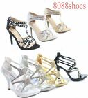 Women's Sexy Open Toe High Heel Strappy Evening Dress Sandals Shoes Size 5.5 -10