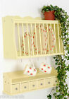 Kitchen Plate Rack- Wall Mounted Wooden/Wood and  Spice drawers/shelf BUTTERMILK