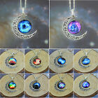 Fashion Women's Crescent Moon Galactic Universe Glass Cabochon Pendant Necklace