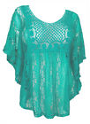 Plus Size Sheer Crochet Lace Poncho Top Mint