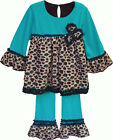 NEW Infant & Todd Turquoise Knit & Faux Cheetah Fur Pant Set-Isobella & Chloe