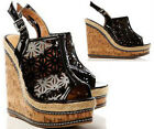Ladies High Wedge Heel Summer Peep Toe Ankle Strap Sandals Shoes Size (B87)