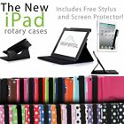 360 Degree Rotating PU Leather Case for iPad Air + Screen Protector + Stylus