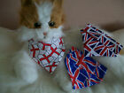 HANDMADE UNION JACK PATTERNS CAT  OR TINY DOG COLLAR BANDANAS RED/WHITE/BLUE