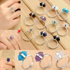 HOT Fashion Natural Gemstone Rings Hexagon Healing Point Chakra Stone Ring Gift