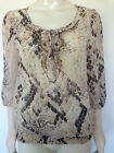 New WALLIS Ladies Animal Print Sheer Top Tunic Summer Beaded T-Shirt