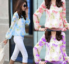 New Ladies Womens Chiffon T-Shirts Floral Long Sleeve Loose Blouses Casual Tops