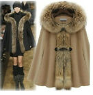 Women Fox Fur Collar Hooded Cape Jacket Warm Wool Blend Cloak Thicken Coat S M L
