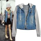 Womens Hoodie Hooded Denim Jean Casual Outdoor Winter Coat Jacket Outerwear
