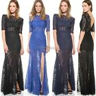 Womens Sexy V neck Long Floral Maxi Lace Gown Evening Cocktail Party Slim Dress