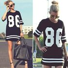 FD669 Women Fashion Stripes No. 86 Short Sleeve Street Dancing Top T-Shirt Dress
