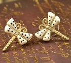 FD342 Dragonfly Cystal Rhinestone Gold Plated Princess Queen Earrings Studs /
