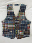 Polo Ralph Lauren Madras Plaid Tartan Indian Patchwork Vest Jacket S M L L XXL