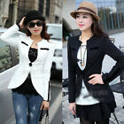 Korean Women Slim Casual Small Suit Jacket V-neck Single One Buckle Coat Black