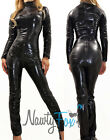 Black Two Way Zipper Fetish Bodysuit Chest Zip Catsuit Halloween Costume S-3XL