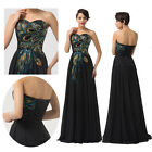 GLam Vintage Peafowl Formal Evening Gown Wedding Bridesmaid Ball Prom Long Dress