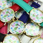 Fashion Geneva Leatheroid Womens Lovely Flower Dial Watch Quartz Wrist Watches