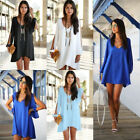 Sexy New Womens Ladies Loose Long Sleeve Summer Casual Skirts Mini Dress UK 6-16