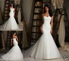 Stock Mermaid White/Ivory Wedding Dress Bride Gown Size:6 8 10 12 14 16