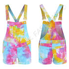 NEW Womens TIE DYE DUNGAREE SHORTS Neon Rainbow Splash Size 6 8 10 12 14 Ladies