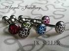Animal Print Colour Leopard Tounge Bar Barbell 16 MM Tongue Surgical Steel 19 MM