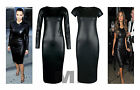 Womens Celebrity Inspired Plain Wet Look PU Long Cap Sleeve Bodycon Midi Dress