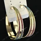 Fashion 6-12Pairs Big Colorful Frosted Gold Hoop Earrings Wholesale Jewelry Lots