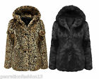 LADIES BLACK LEOPARD PRINT FAUX FUR POM POM WOMENS JACKET WINTER COAT TOP 8-16