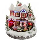 Christmas Scene House With Rotating Train & Colourful LED Lights Decoration 22cm