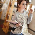 Lady Womens Crewneck Fleece Pullover Lace Floral Sweater Shirts Sweatshirt Tops